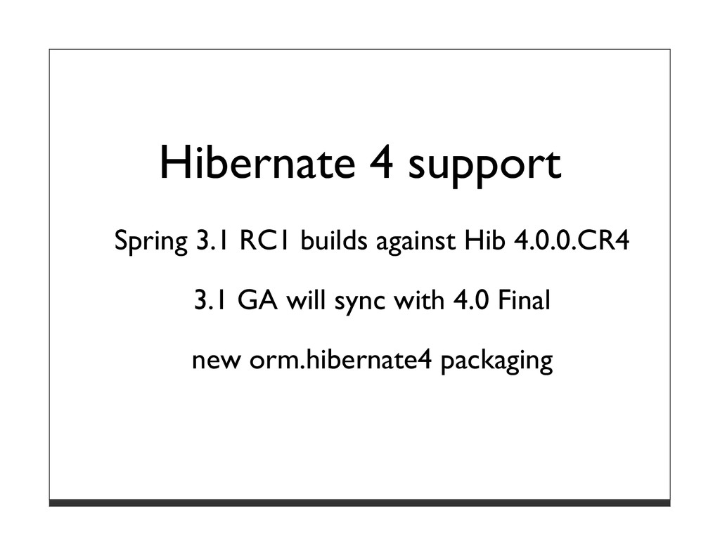 Hibernate 4 support Spring 3.1 RC1 builds again...
