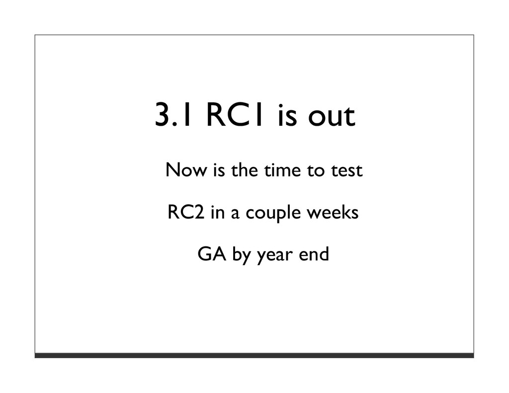 3.1 RC1 is out Now is the time to test RC2 in a...