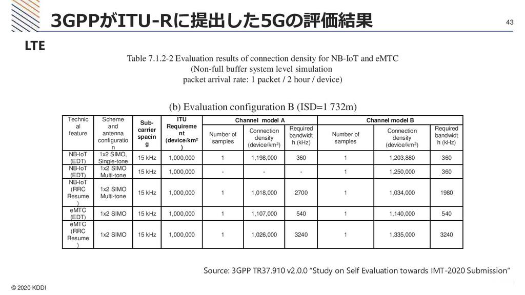 © 2020 KDDI 43 3GPPがITU-Rに提出した5Gの評価結果 LTE Table...