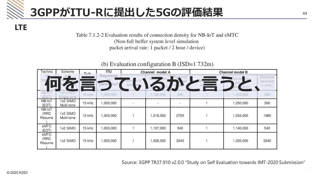 © 2020 KDDI 44 3GPPがITU-Rに提出した5Gの評価結果 LTE Table...