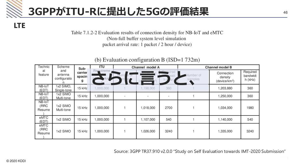 © 2020 KDDI 46 3GPPがITU-Rに提出した5Gの評価結果 LTE Table...