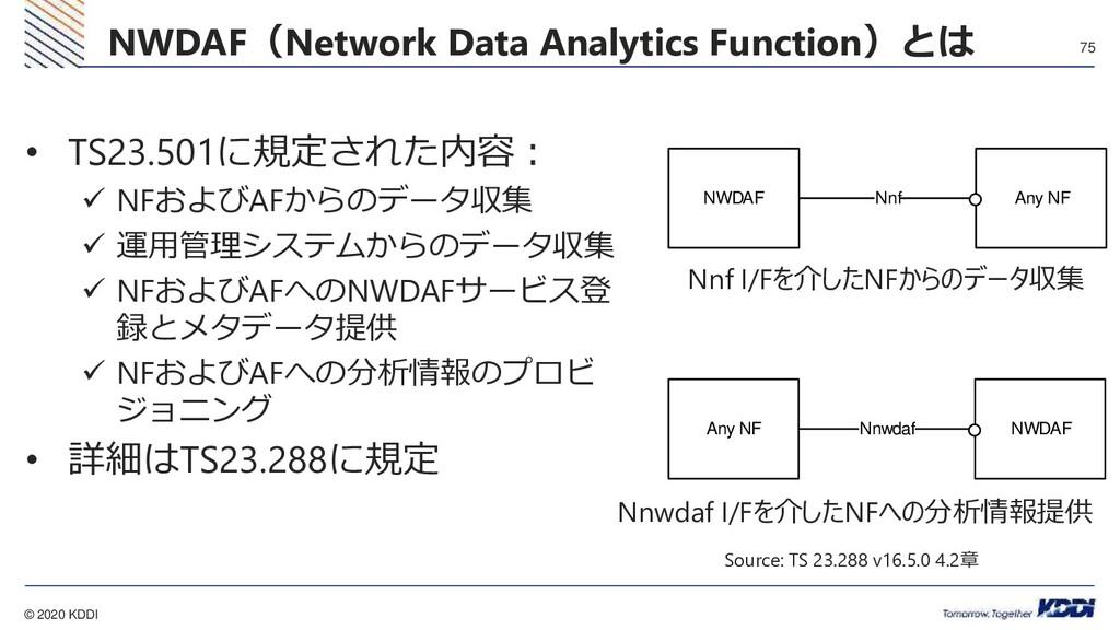 © 2020 KDDI 75 NWDAF(Network Data Analytics Fun...