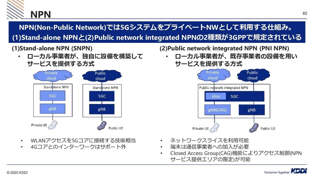 © 2020 KDDI 82 NPN (1)Stand-alone NPN (SNPN) • ...