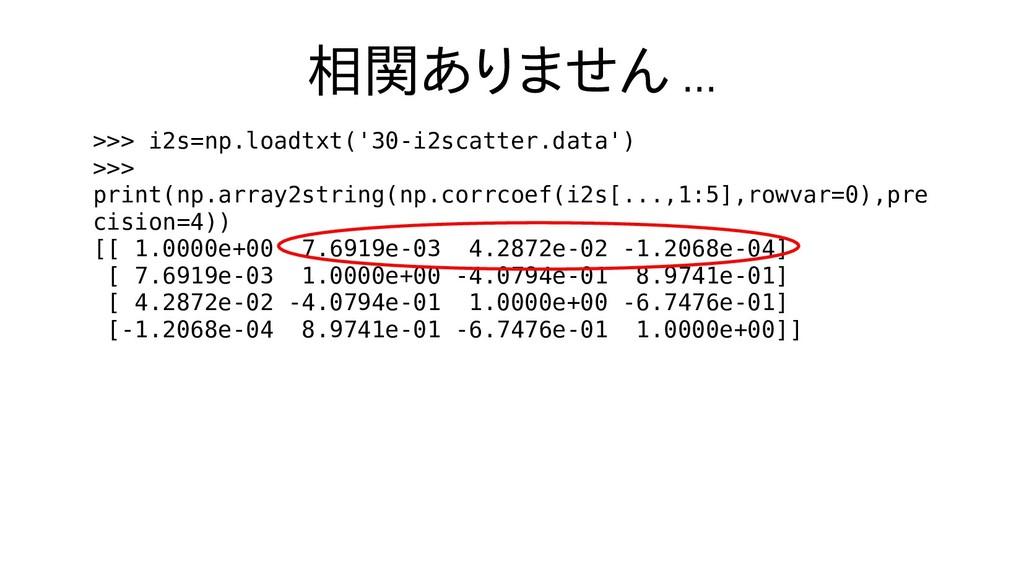 相関ありません ... >>> i2s=np.loadtxt('30-i2scatter.da...