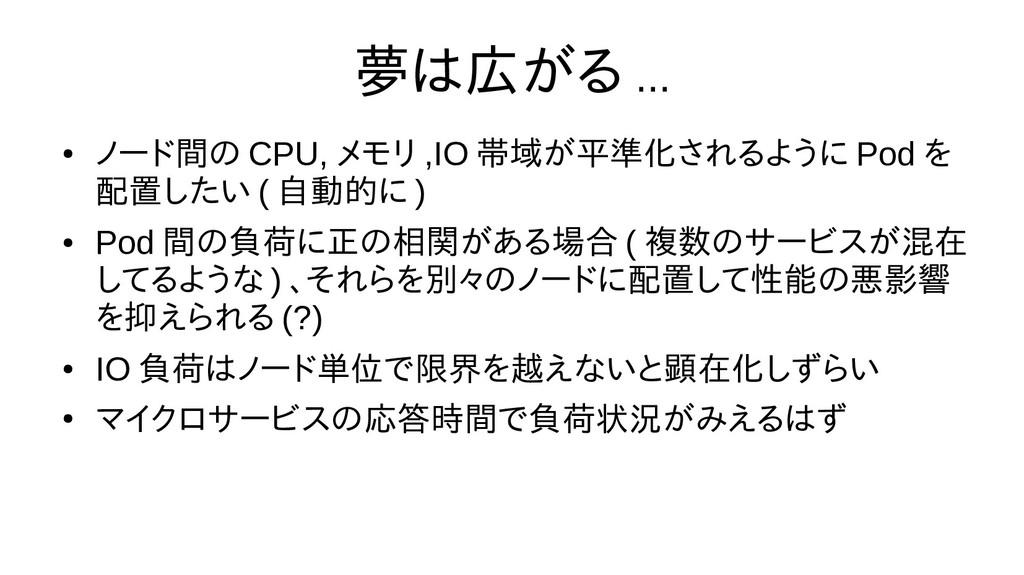 夢は広がる ... ● ノード間の CPU, メモリ ,IO 帯域が平準化されるように Pod...