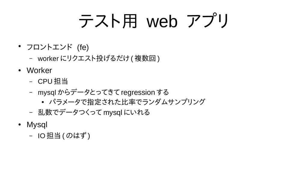 テスト用 web アプリ ● フロントエンド (fe) – worker にリクエスト投げるだ...
