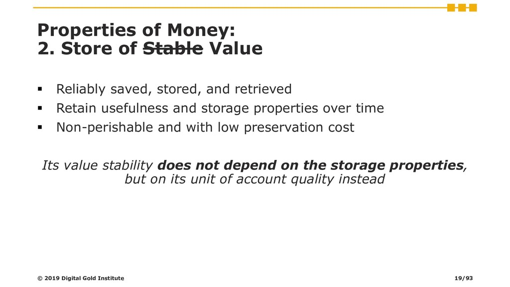 Properties of Money: 2. Store of Stable Value ▪...