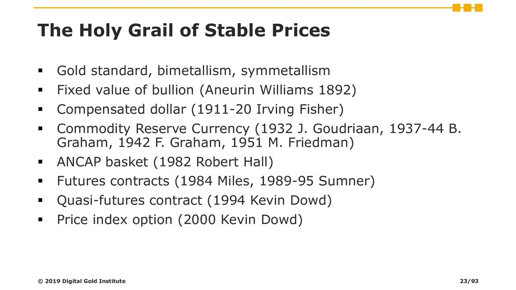 The Holy Grail of Stable Prices ▪ Gold standard...