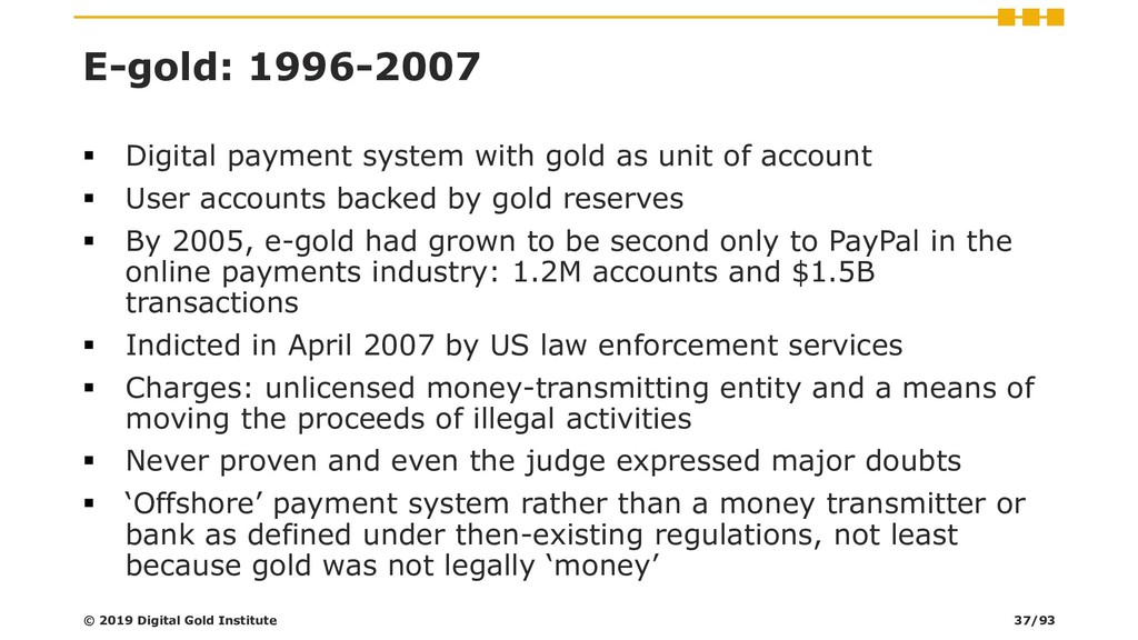 E-gold: 1996-2007 ▪ Digital payment system with...