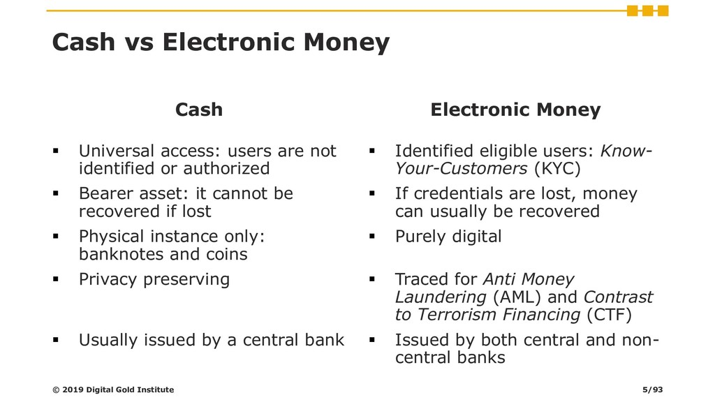 Cash vs Electronic Money Cash ▪ Universal acces...
