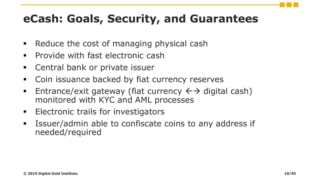 eCash: Goals, Security, and Guarantees ▪ Reduce...