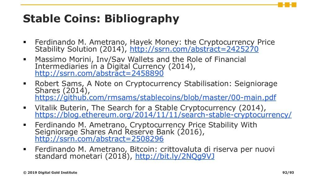 Stable Coins: Bibliography ▪ Ferdinando M. Amet...