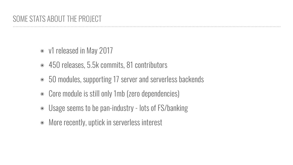 SOME STATS ABOUT THE PROJECT ๏ v1 released in M...