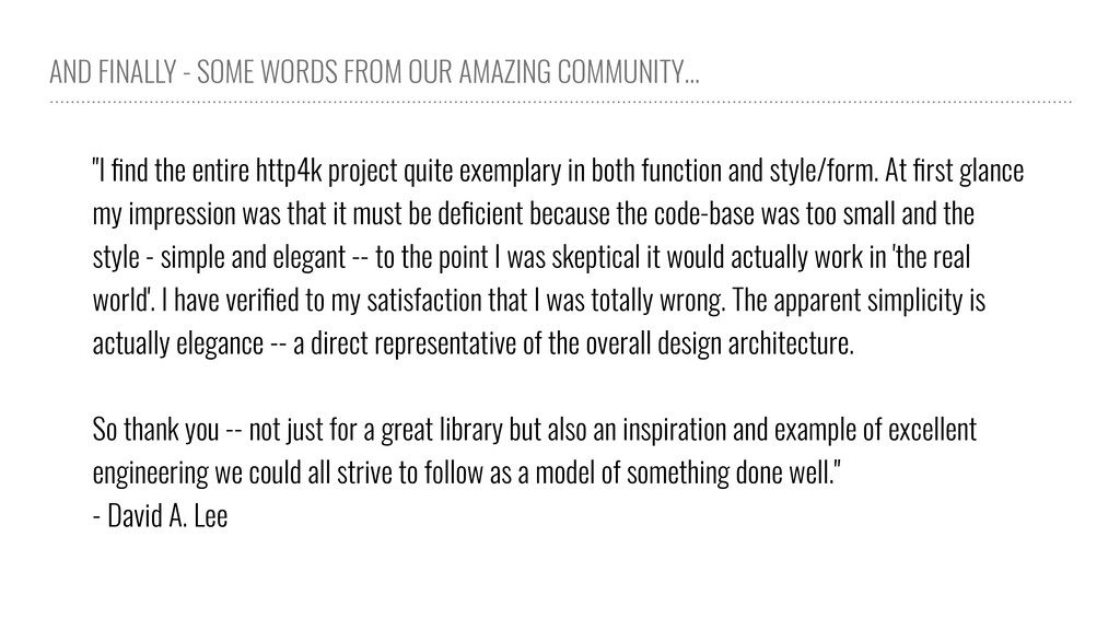 AND FINALLY - SOME WORDS FROM OUR AMAZING COMMU...
