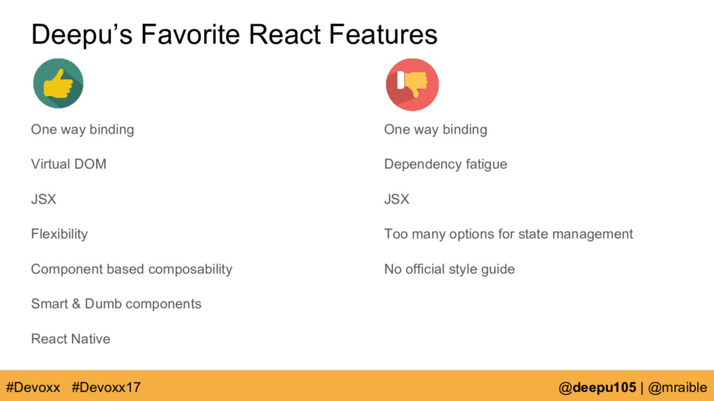 Deepu's Favorite React Features One way binding...