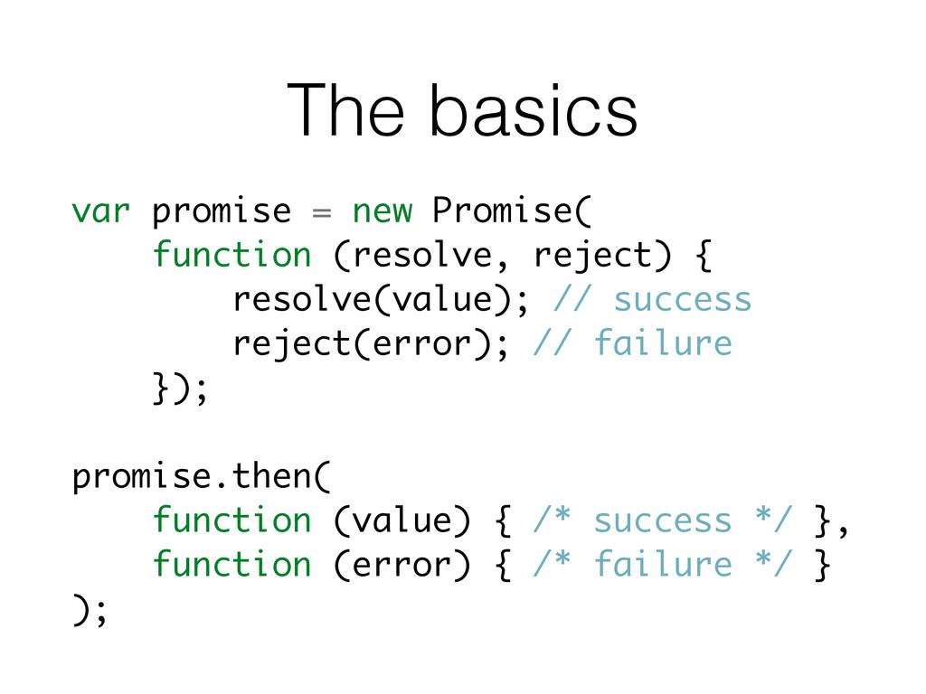 The basics var promise = new Promise( function ...