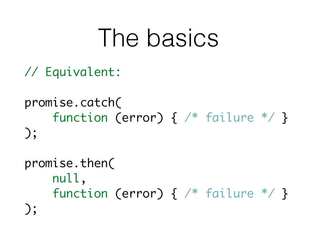 The basics // Equivalent: promise.catch( functi...