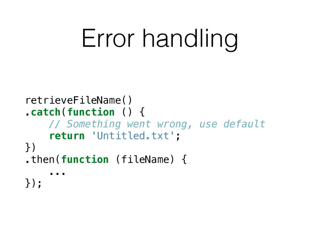 Error handling retrieveFileName() .catch(functi...