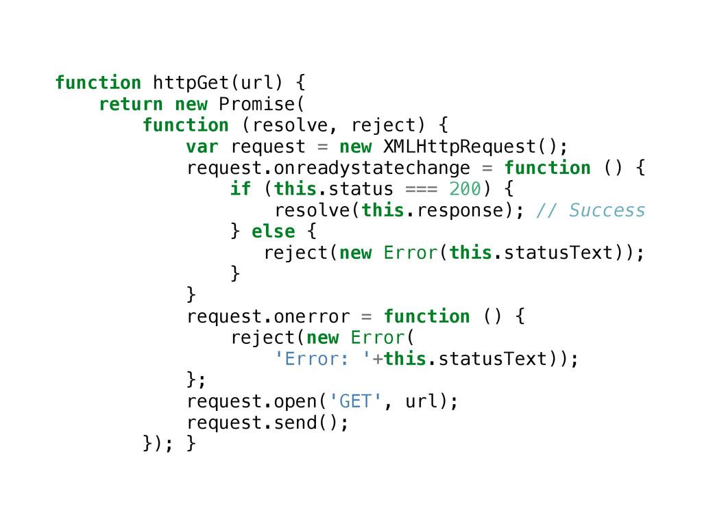function httpGet(url) { return new Promise( fun...