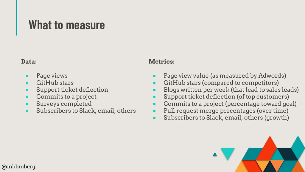 What to measure @mbbroberg Metrics: ● Page view...