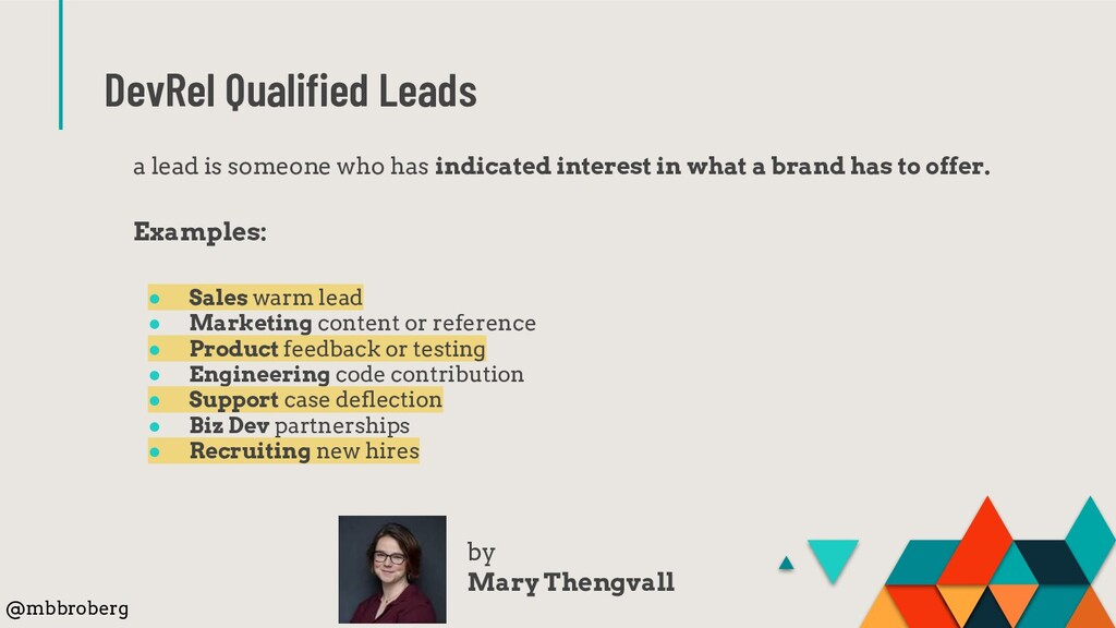 DevRel Qualified Leads a lead is someone who has...
