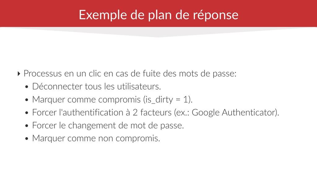 Exemple de plan de réponse ‣ Processus en un cl...
