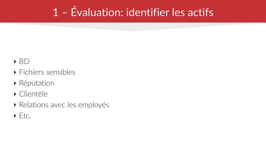 1 – Évaluation: identifier les actifs ‣ BD ‣ Fi...