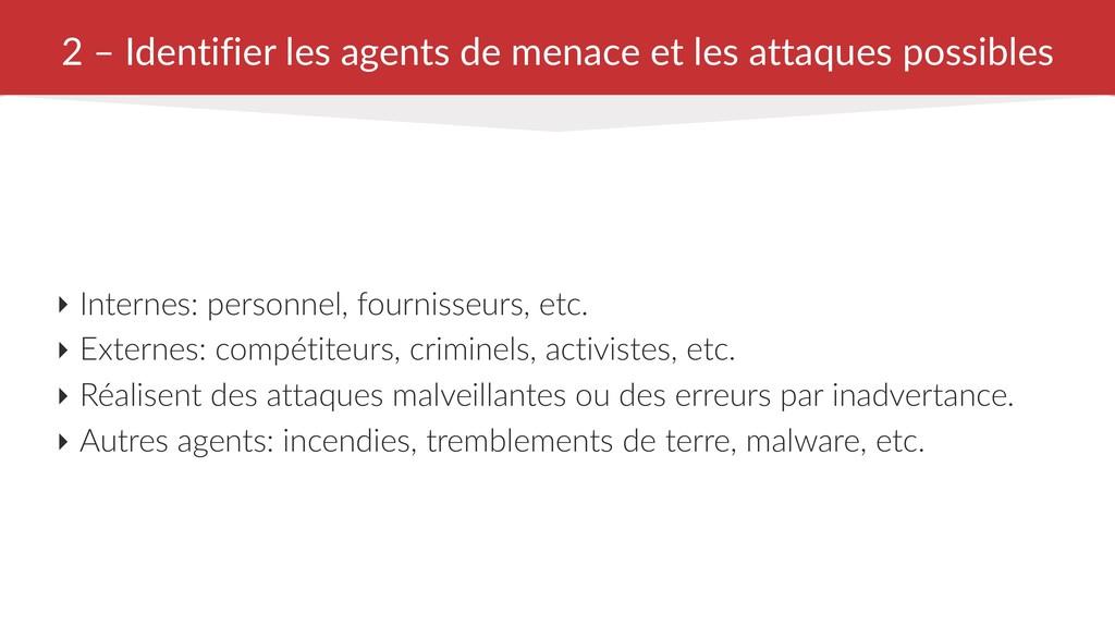 2 – Identifier les agents de menace et les atta...