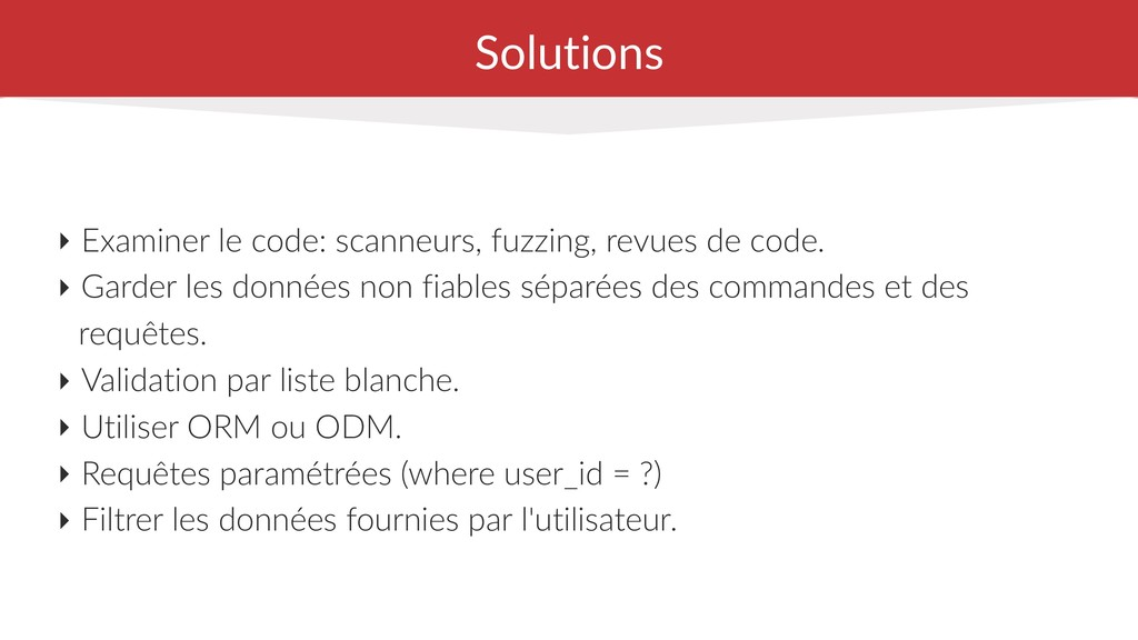 Solutions ‣ Examiner le code: scanneurs, fuzzin...