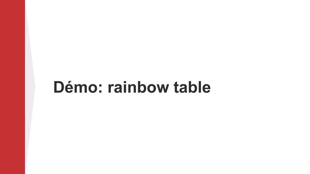 Démo: rainbow table