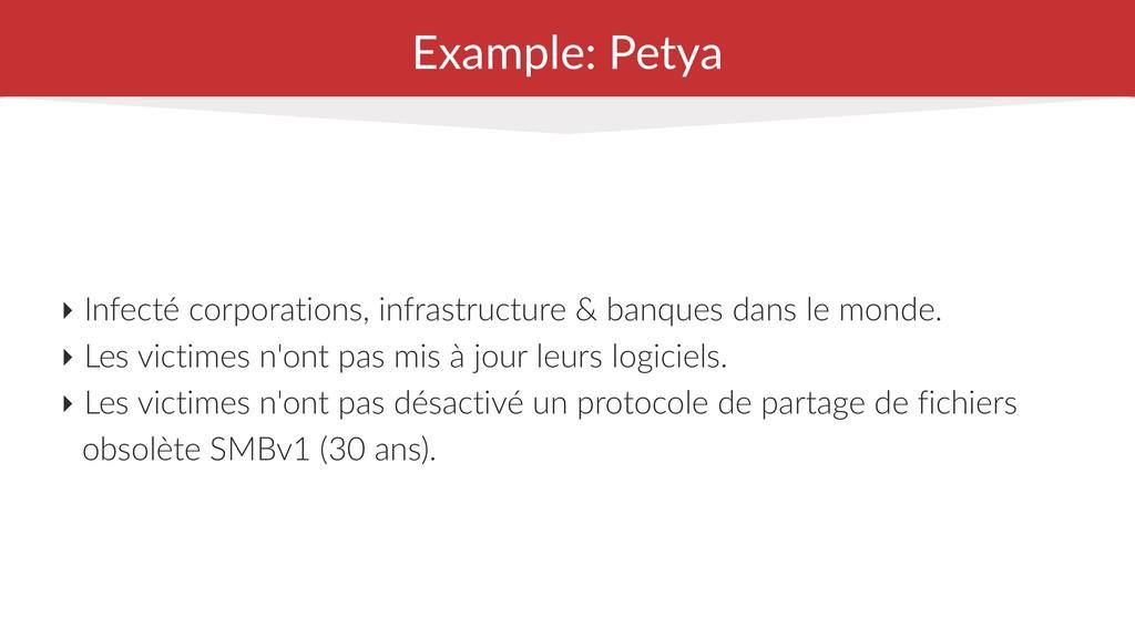 Example: Petya ‣ Infecté corporations, infrastr...