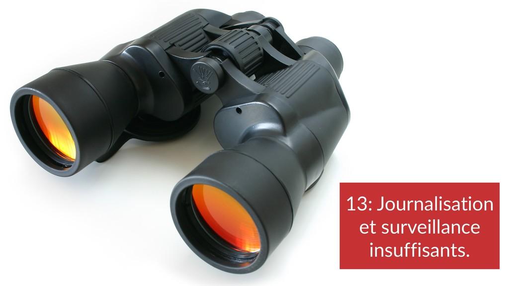 13: Journalisation et surveillance insuffisants.