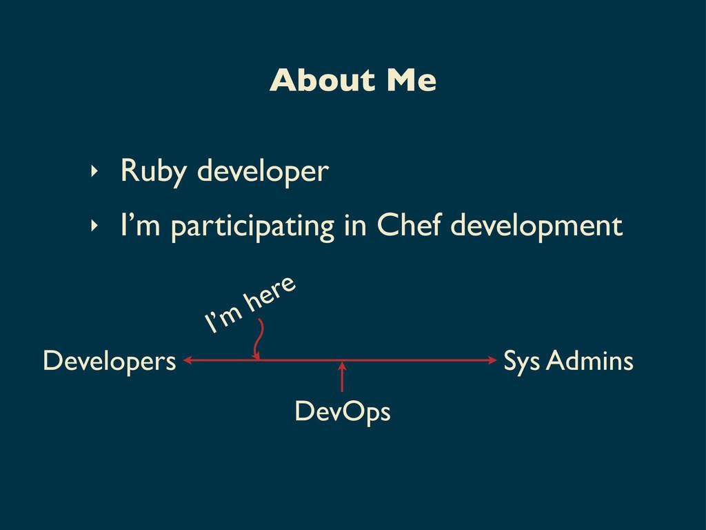 ‣ Ruby developer ‣ I'm participating in Chef de...