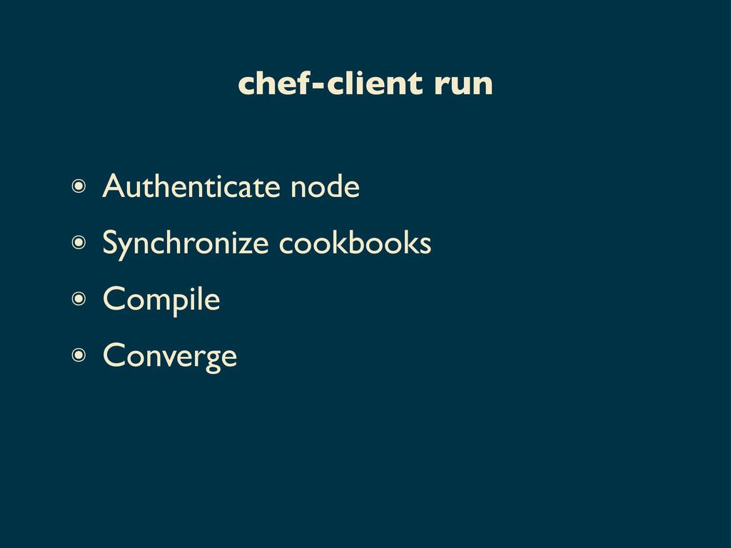 ๏ Authenticate node ๏ Synchronize cookbooks ๏ C...