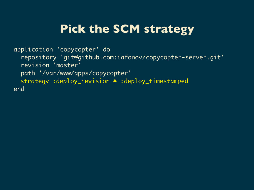 Pick the SCM strategy application 'copycopter' ...
