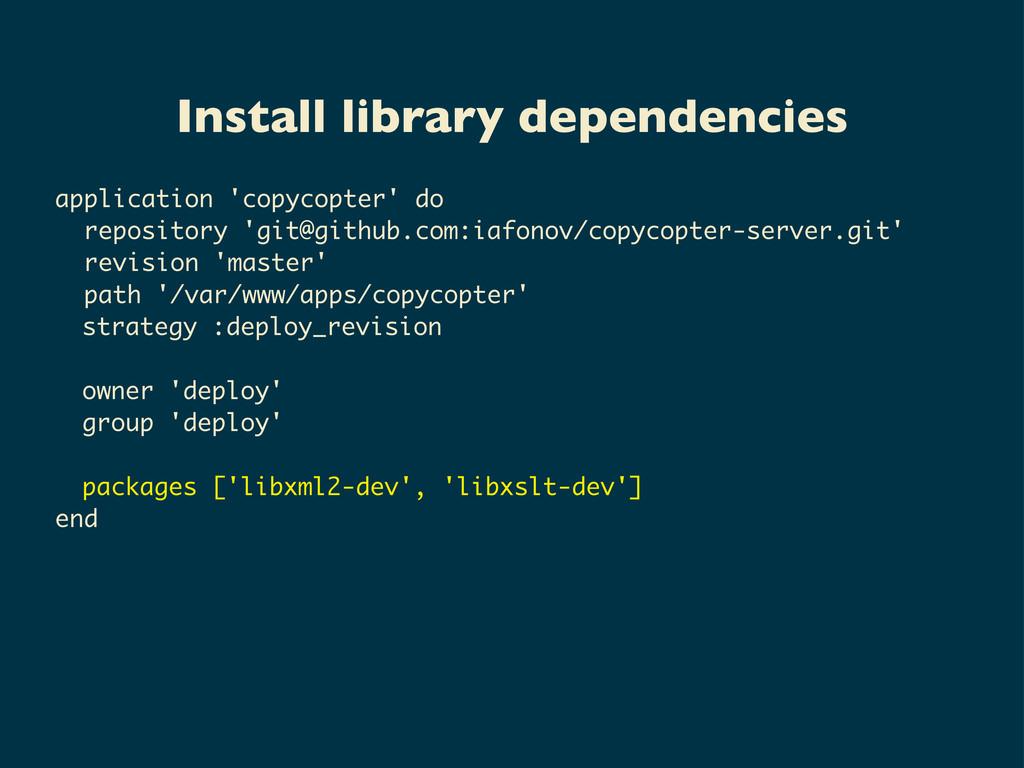 Install library dependencies application 'copyc...