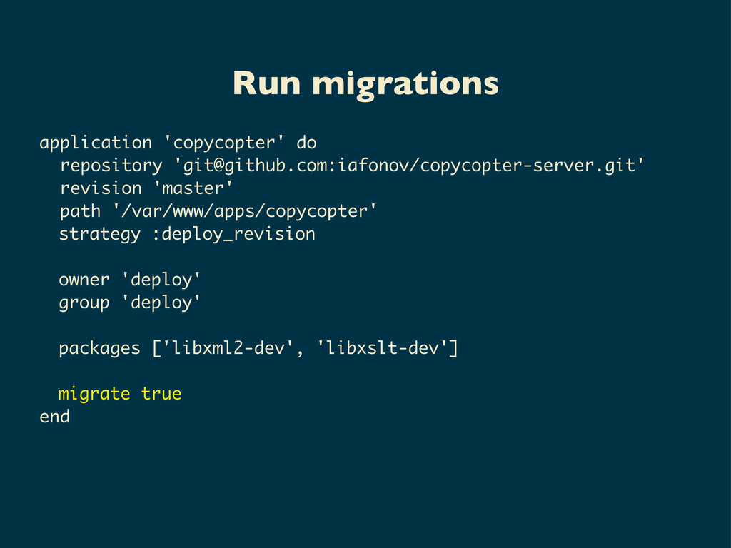 Run migrations application 'copycopter' do repo...