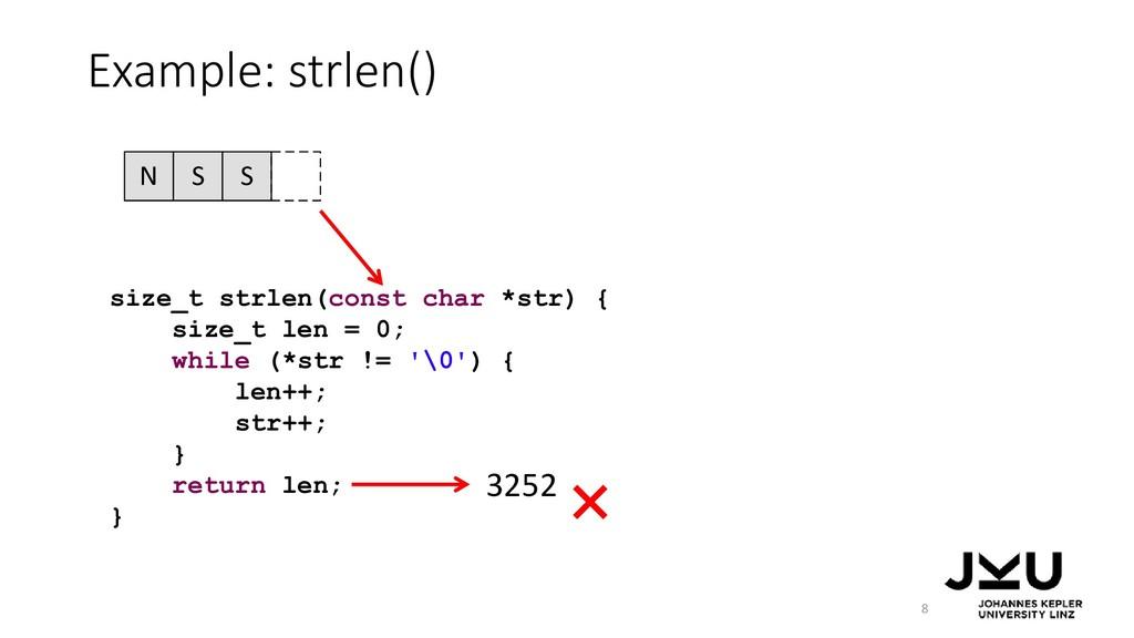 N S S Example: strlen() 8 size_t strlen(const c...