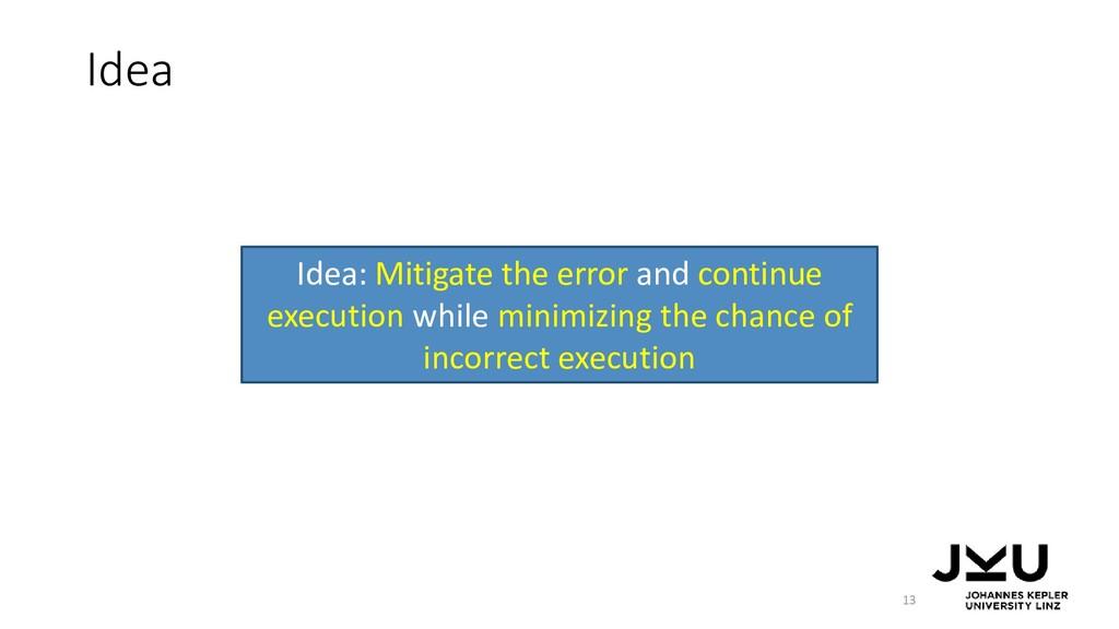 Idea 13 Idea: Mitigate the error and continue e...