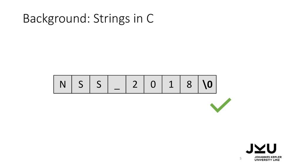 Background: Strings in C 5 N S S _ 2 0 1 8 \0