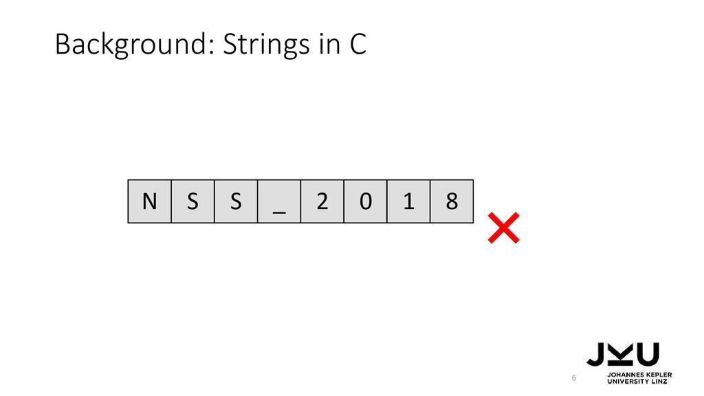 Background: Strings in C 6 N S S _ 2 0 1 8