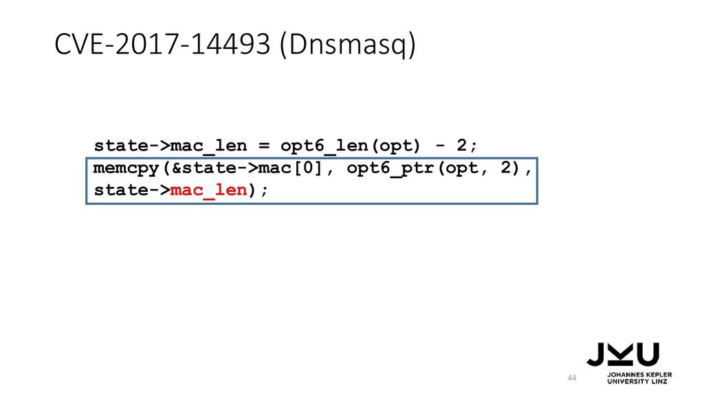 CVE-2017-14493 (Dnsmasq) 44 state->mac_len = op...