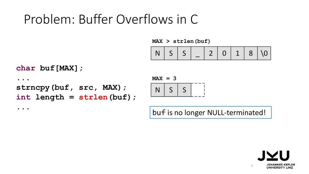 Problem: Buffer Overflows in C 7 N S S _ 2 0 1 ...