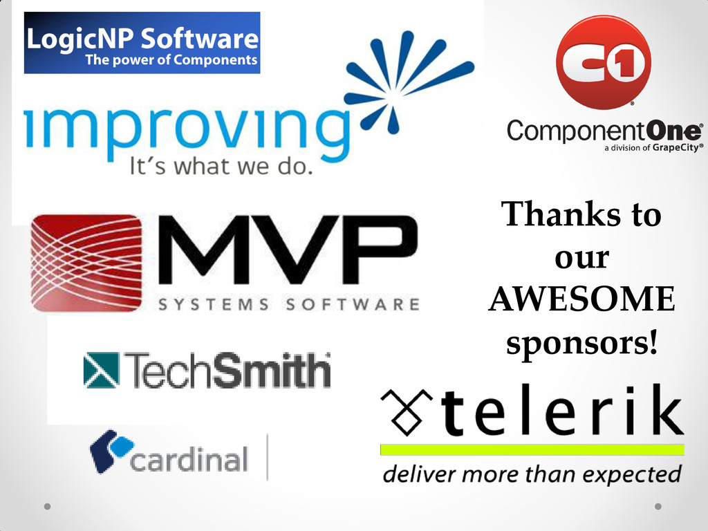 Thanks to our AWESOME sponsors!