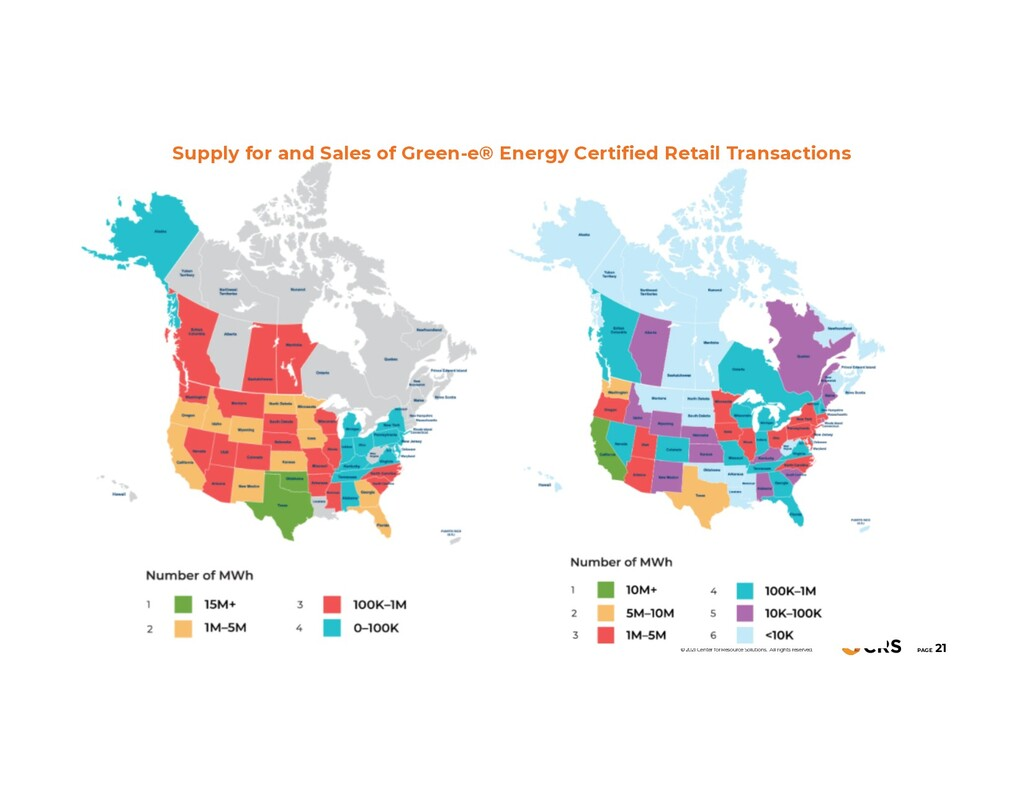 Supply for and Sales of Green-e® Energy Certifi...