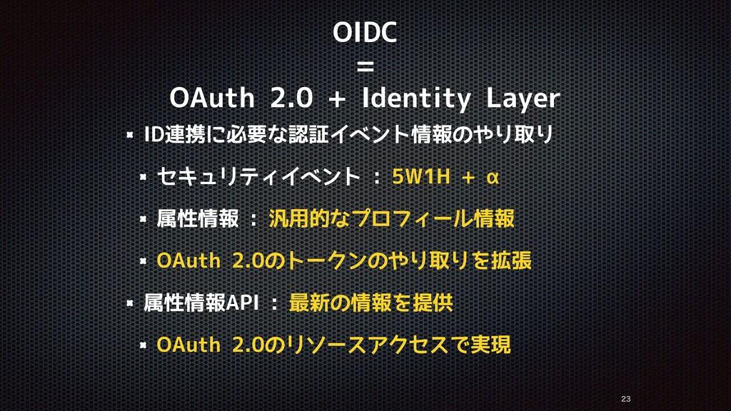 OIDC = OAuth 2.0 + Identity Layer ID連携に必要な認証イベン...