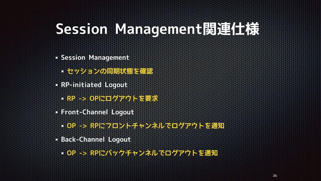 Session Management関連仕様   Session Management ...