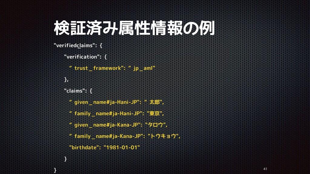 """検証済み属性情報の例   """"verified_claims"""": { """"verificat..."""
