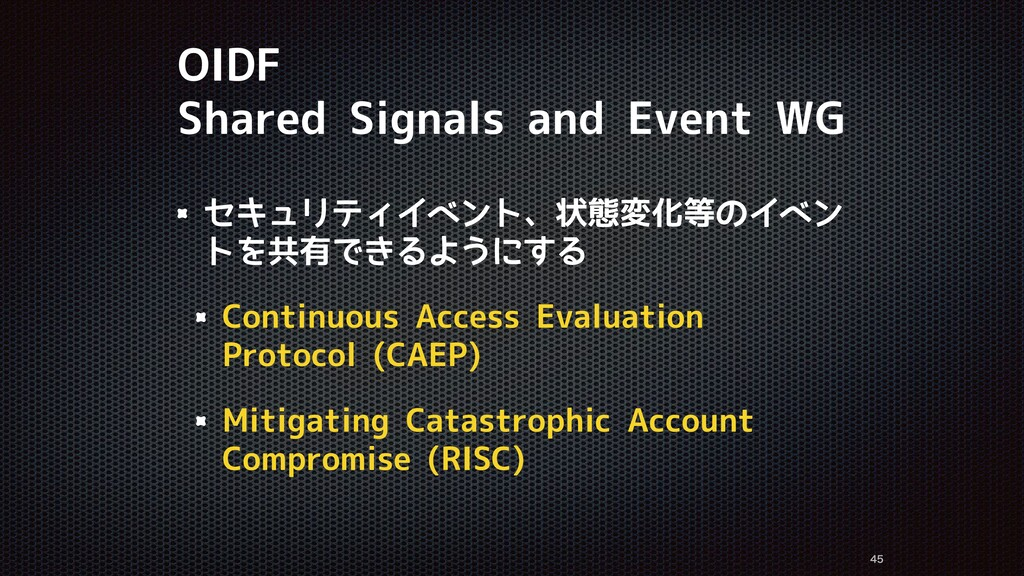 OIDF Shared Signals and Event WG セキュリティイベント、状態変...