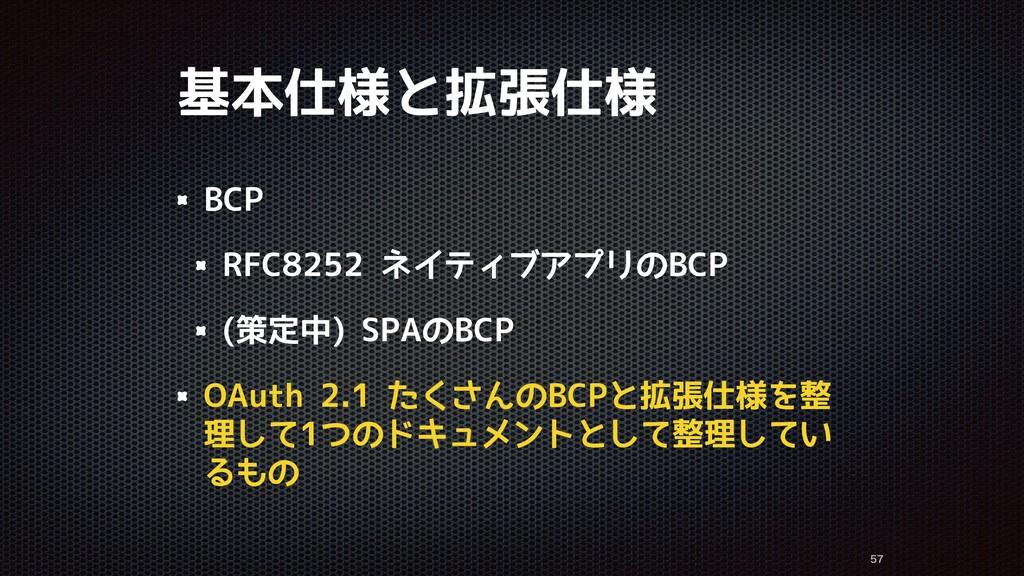 基本仕様と拡張仕様 BCP RFC8252 ネイティブアプリのBCP (策定中) SPAのBC...